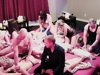 Naked swingers are playing sex games