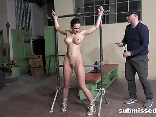 Fake boobs slave girl Barbara tied up and penetrated with a equipment