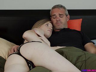 Naughty step daughter Nikki Sweet rides their way step dad strong cock