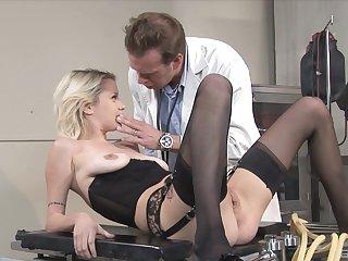 Fabulous blonde in swart lingerie, erotic nude porn