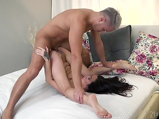 Asian with hungering mouth, out of one's mind bedroom porn on a white dong