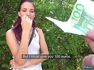 Redhead slut Lyen Parker takes money to be fucked in outdoors