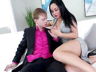 Brunette fro perfect forms, insane couch sex essentially young lad's pole