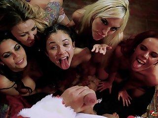 Naughty Santa with a large dick fucks clip of kinky sluts