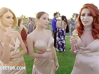 Three bridesmaids with gungy penurious pussies and one cock