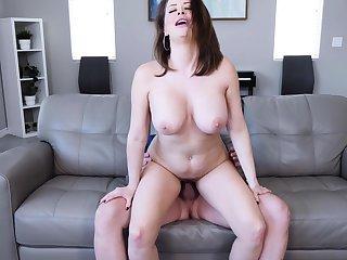 Horny stepmom sucking and riding cock