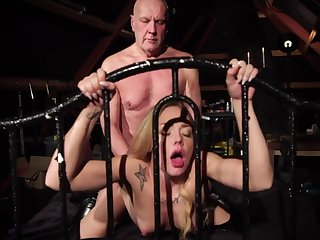 Elderly fucker enjoys young bitch Angie Lee in 69 and doggy positions