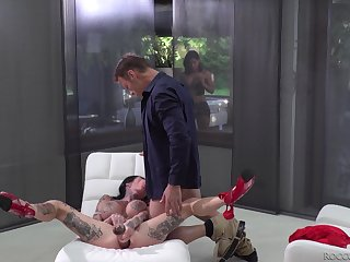 Canela Skin and Megan Inky take turns riding a cock and share cum