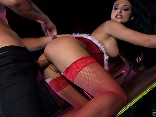 Brunette babe Aletta Ocean cums hard while getting ass fucked