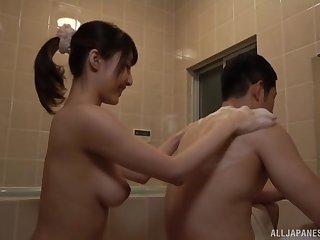 Bathroom blowjob and a cumshot in mouth for Japanese babe Ayami Shunka