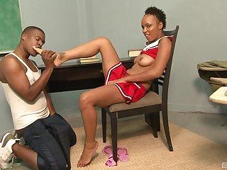 Ebony babe Aja Cummings creampied in a miniskirt by a black guy