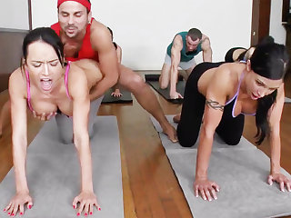 Obscene yoga bombshells getting humped in a 4some