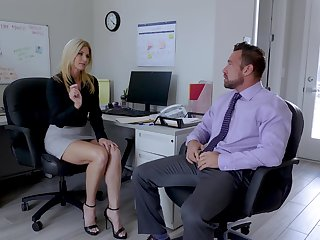 Sexy India Summer enjoys sex alongside her colleague in her office