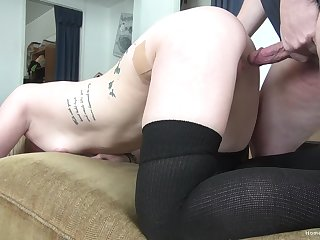 Sleeping old hat modern is raise up by horny boyfriend's dick in her brashness
