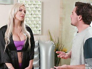 Divorcée milf Nina Elle seduces handsome stepson coupled with gives him a nuru massage