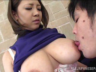 Big tits Asian sweater unfocused Conomi takes a dick in her mouth