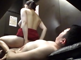 Excellent scenes with the JAV old woman riding cock in reverse