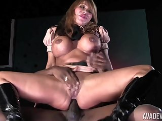 MILF on fire rides the BBC and makes it cum on her heart of hearts