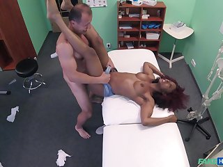 Bastardize fucks ebony patient and cums on her tits in serious XXX play
