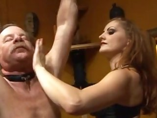 Horny domina punishes stud and whips him near femdom movie