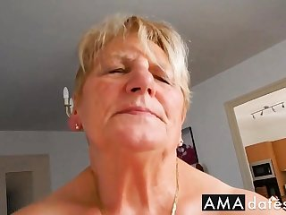 Grandma rides hubby increased by tries mewl to moaning
