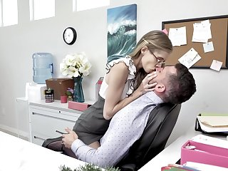 Skinny pain legged nerdy secretary rides and sucks strong cock relative to rub-down the office